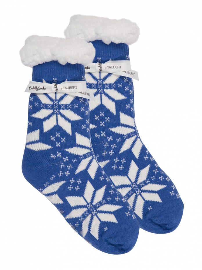 Cuddly Socks fluffy sokken trendywinter.nl huissokken slofsokken super zacht met winter print blauw