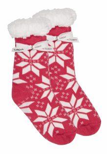 Cuddly Socks fluffy sokken trendywinter.nl huissokken slofsokken super zacht met winter print roze