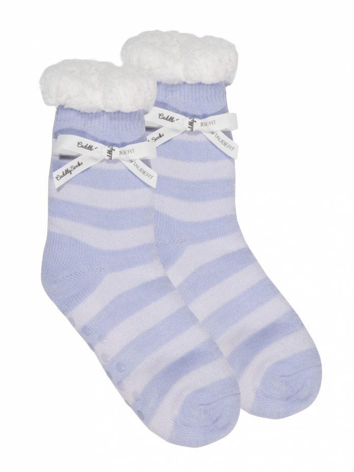 Cuddly Socks huissokken fluffy sokken lichtblauw strepen Trendy Winter 2017 - 2018