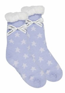Cuddly Socks fluffy sokken huissokken dames lichtblauw met sterretjes trendy winter 2017